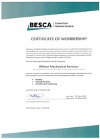 Besca Certificate