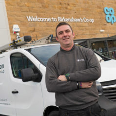 A Mitton Engineer and van outside Birkenshaw Co-op retail store