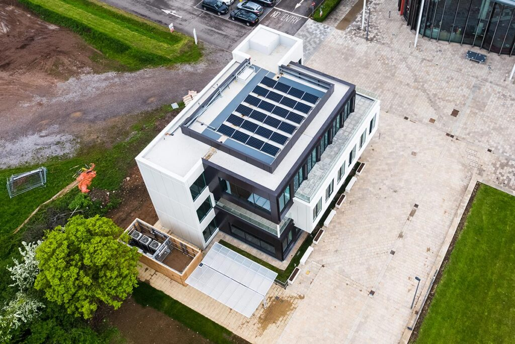 Photovoltaic panels on the roof of new offices at Bristol & Bath Science Park